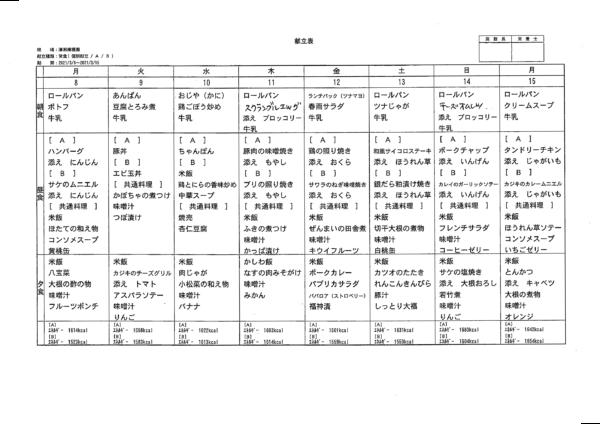 清瀬療護園 2021年3月8日~15日までの給食メニュー