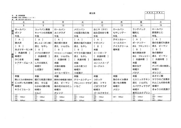 清瀬療護園 2021年5月8日~15日までの給食メニュー