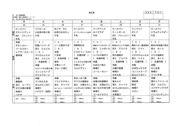 清瀬療護園 2021年5月24日~31日までの給食メニュー