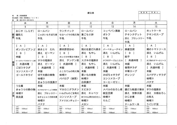 清瀬療護園 2021年6月9日~15日までの給食メニュー
