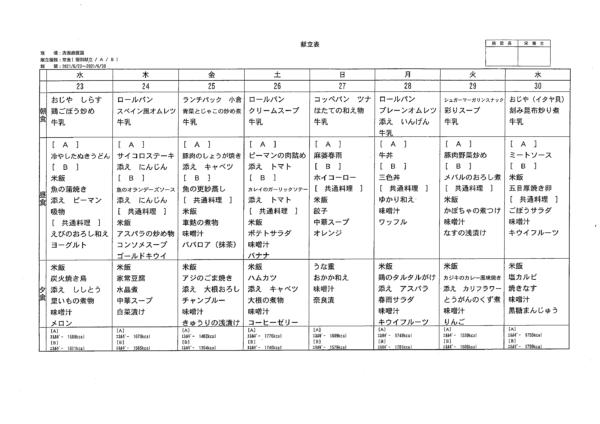 清瀬療護園 6月22日-30日までの給食メニュー