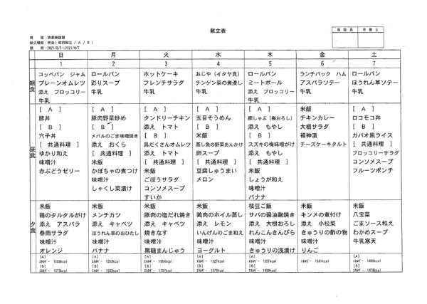 清瀬療護園8月1日から8月7日までの給食メニュー