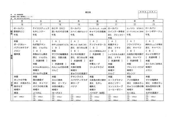 清瀬療護園 8月後半(8月16-23日まで)の給食メニューです