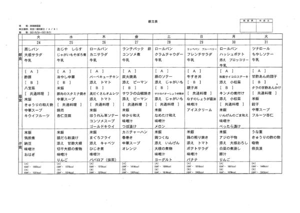 清瀬療護園 8月後半(8月24-31日まで)の給食メニューです