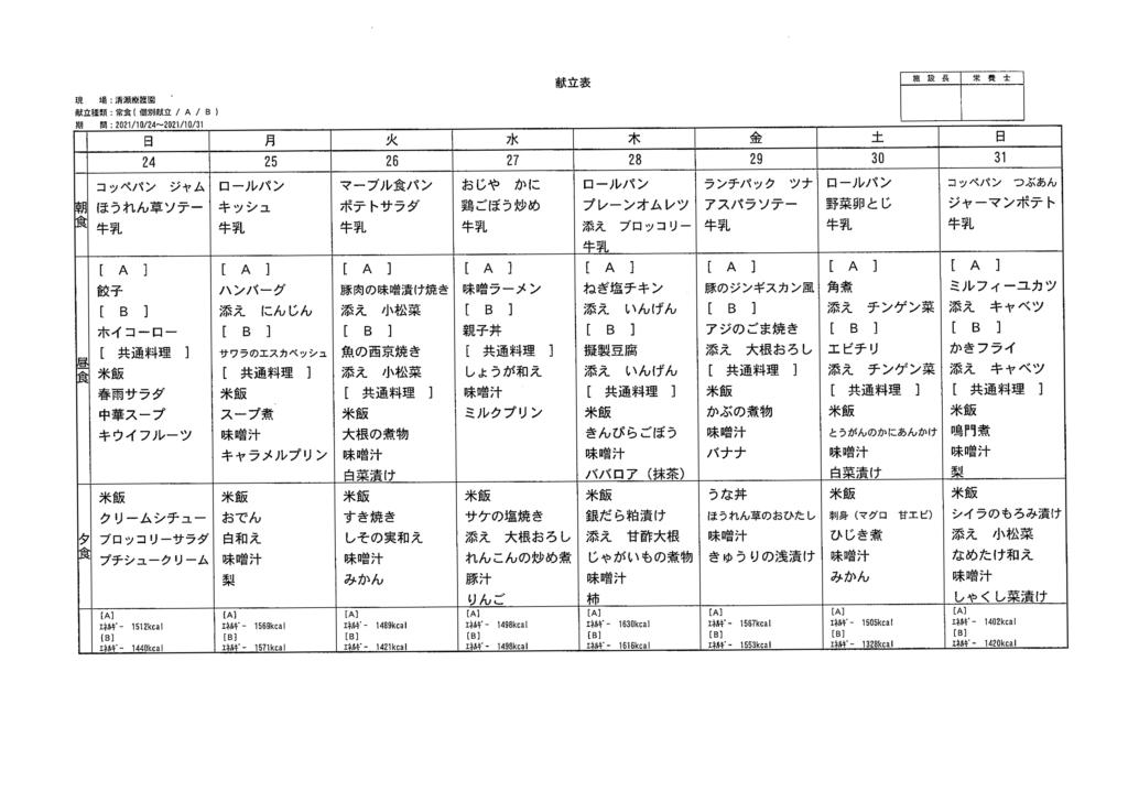 清瀬療護園 給食メニュー献立 2021.10.24-10.31分